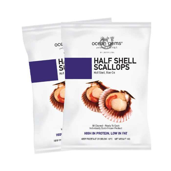 Half Shell Scallop Roe-On 20/30 | 1kg